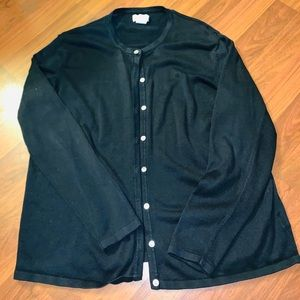Liz Baker Solid Black Button Down Cardigan XL